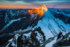 Matterhorn ascent (Monte Cervino) Stock Photos