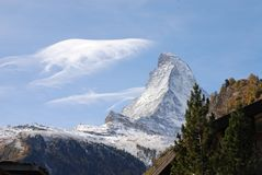 Matterhorn in Autumn. Matterhorn (Monte Cervino) is one of the highest summits from Europe (4478 m altitude Royalty Free Stock Photos