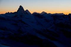 Matterhorn bei dem Sonnenuntergang Stockbilder