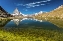 Matterhorn berg bak en härlig sjö med gräs royaltyfri fotografi