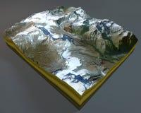 Matterhorn, berg, satellietmening, Alpen, Italië, Zwitserland het 3d teruggeven royalty-vrije illustratie