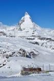Matterhorn-Berg in Zermatt, die Schweiz stockfotografie