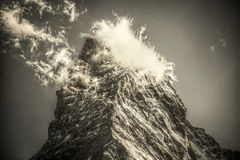 Cloudy Matterhorn in black and white Stock Images