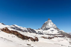 Matterhorn with blue sky background, Zermatt, Switzerland Stock Images