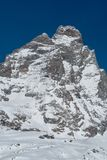 The Matterhorn from Breuil-Cervinia, Italy. The south face of the Matterhorn-Cervino seen from Breuil-Cervinia, Italy Royalty Free Stock Photos