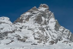 The Matterhorn from Breuil-Cervinia, Italy. The south face of the Matterhorn-Cervino seen from Breuil-Cervinia, Italy Stock Image