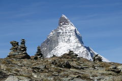 Matterhorn with cairns. Majestic Matterhorn with some cairns Royalty Free Stock Images
