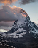 Matterhorn. The Matterhorn with clouds at dusk, Pennine Alps, Valais, Switzerland, Europe Stock Photo