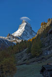 Matterhorn covered with small cloud, Canton of Valais, Alps Royalty Free Stock Images