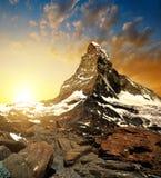 Matterhorn in de zonsondergang Stock Afbeeldingen