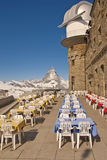Matterhorn Deck Ready for Lunch. Matterhorn and observation tower with tables ready for lunch in Zermatt, Switzerland Royalty Free Stock Images
