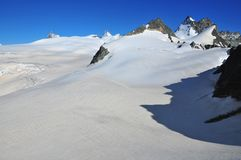 Matterhorn; Dent d'Herens and Bertol. Panoramic view of the Mont Mines glacier with from the left the Matterhorn; Dent d'Herens and on the right the collection Royalty Free Stock Images