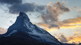 Matterhorn at Dusk. The sun has just set behind Switzerland's most iconic mountain Stock Images