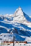 Matterhorn e Gornergratbahn Fotografia Stock