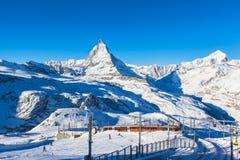 Matterhorn e Gornergratbahn Immagine Stock Libera da Diritti