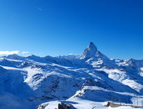 Matterhorn en twee vallend sterren Stock Fotografie