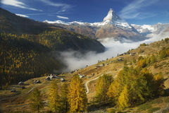 Matterhorn and Findeln. The Matterhorn stands above the hamlet of Findeln in Zermatt, Switzerland Stock Image
