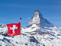 Matterhorn with flag of switzerland Stock Photography