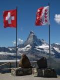 Matterhorn And Flags. Flags of Switzerland and Canton Wallis.  Matterhorn Royalty Free Stock Photos