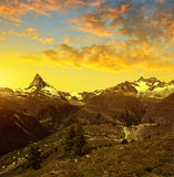 Matterhorn and Gabelhorn in Pennine alps, Switzerland. Beautiful mountain landscape at sunset. Matterhorn and Gabelhorn in Pennine alps, Switzerland stock photography