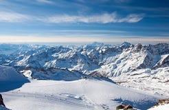 Matterhorn glacier paradise. Ski slopes on the Matterhorn, view from the Klein Matterhorn Stock Photo