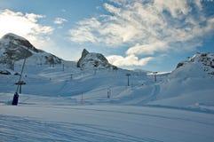 Matterhorn glacier paradise with ski lifts. Ski slopes on the Matterhorn royalty free stock images