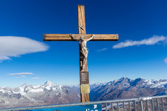 MATTERHORN GLACIER PARADISE, SWITZERLAND - OCTOBER 27, 2015: Crucifixion on Matterhorn Glacier Paradise near Matterhorn Peak, Alps Stock Images