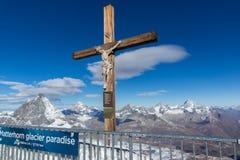 MATTERHORN GLACIER PARADISE, SWITZERLAND - OCTOBER 27, 2015: Crucifixion on Matterhorn Glacier Paradise near Matterhorn Peak, Alps Royalty Free Stock Photo