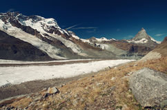 Matterhorn and glacier,  Switzerland. Glacier morraine near to Matterhorn, Switzerland Royalty Free Stock Images