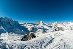 Matterhorn from gornergrat. Scenic view of Matterhorn from Gornergrat in Winter, Zermatt, Wallis, Switzerland Stock Image