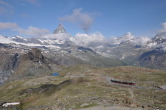 Matterhorn and Gornergrat Bahen(GGB). The Gornergratbahn, gauge mountain rack railway, with Abt rack system and Matterhorn stock photography