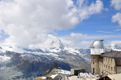 Matterhorn and Gornergrat observatory, Switzerland Stock Image