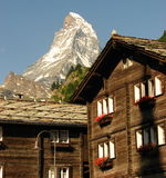 Matterhorn and a House or hotel at Zermatt Stock Image