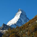 Matterhorn i żółty modrzewiowy las Fotografia Stock