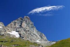 Matterhorn Italiaanse kant van Breuil Cervinia Stock Afbeelding
