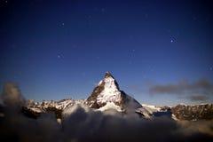 Matterhorn Kąpać się w blasku księżyca Obrazy Royalty Free