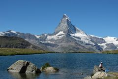 Matterhorn and lake Stellisee, Stock Image