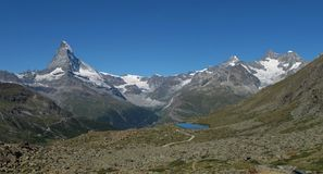 Matterhorn and lake Stellisee Royalty Free Stock Photo
