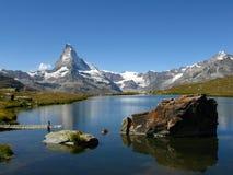 Matterhorn lake view, Switzerland. Stellisee lake and Matterhorn into a perfect day of summer in Switzerland Royalty Free Stock Photography