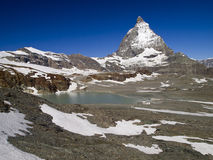 Matterhorn and a little lake Stock Photography