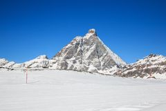 Matterhorn. From the Valtournanche ski slopes - Aosta Valley Royalty Free Stock Images