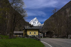 Matterhorn. The Matterhorn, or Monte Cervino , also known in French as Mont Cervin  is a mountain of the Alps, straddling the main watershed and border between Royalty Free Stock Photos