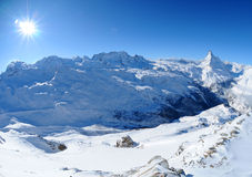 Matterhorn and Monte Rosa. A winter mountain landscape with the famous Matterhorn and Monte Rosa in the background Stock Photography