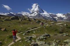 Matterhorn - mooi landschapsgebied rond Zermatt Zwitserland (Zwitser, Suisse) Stock Foto's