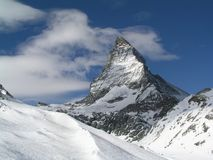 Matterhorn mountain. Matterhorn in the swiss alps as seen in winter with snow Royalty Free Stock Images