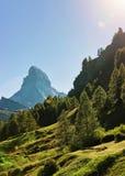 Matterhorn mountain and green hill in Zermatt in Switzerland Royalty Free Stock Photo