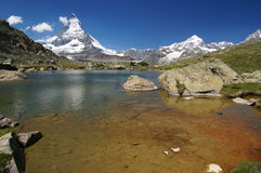 Matterhorn. Mountain lake near Matterhorn, Swiss Alps Stock Images