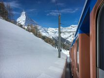 Matterhorn mountain and alpine landscape with Gornergrat railway royalty free stock photos