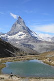 Matterhorn mountain and Riffelsee lake Stock Photography