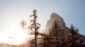 Matterhorn mountain on sunset Royalty Free Stock Photo